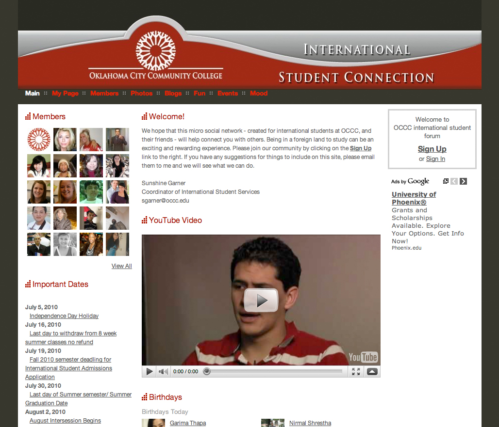 Social networking site created for international students
