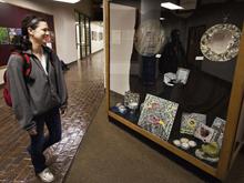 Student artist displays mosaic art on campus