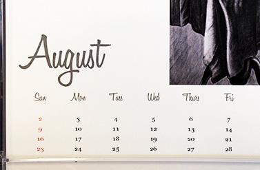 Calendar shows student art