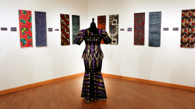 African wax print fabrics and dress