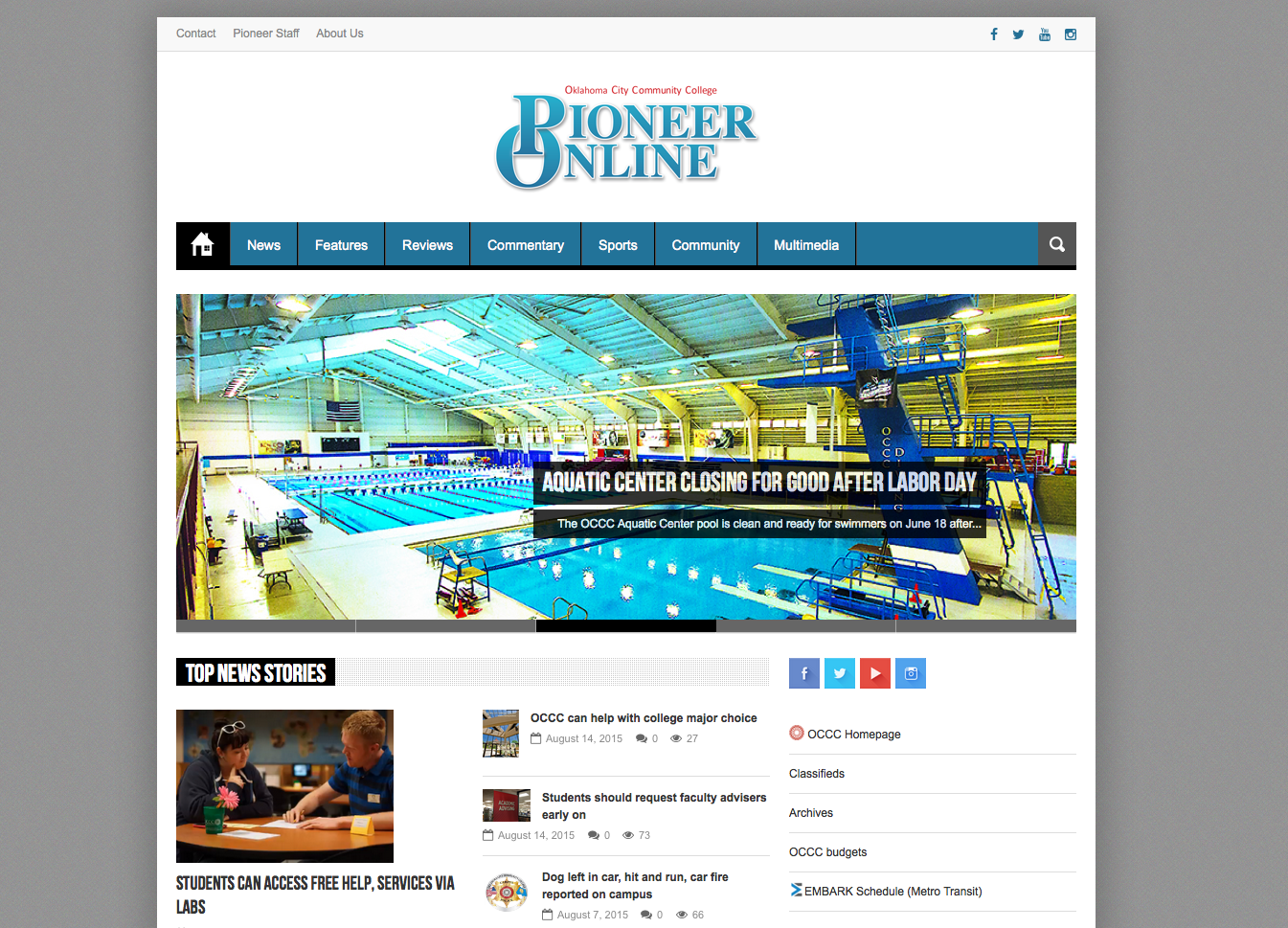 pioneer.occc.edu home page