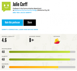 Julie Corff ratings as a professor