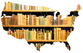 library books in the shape of America