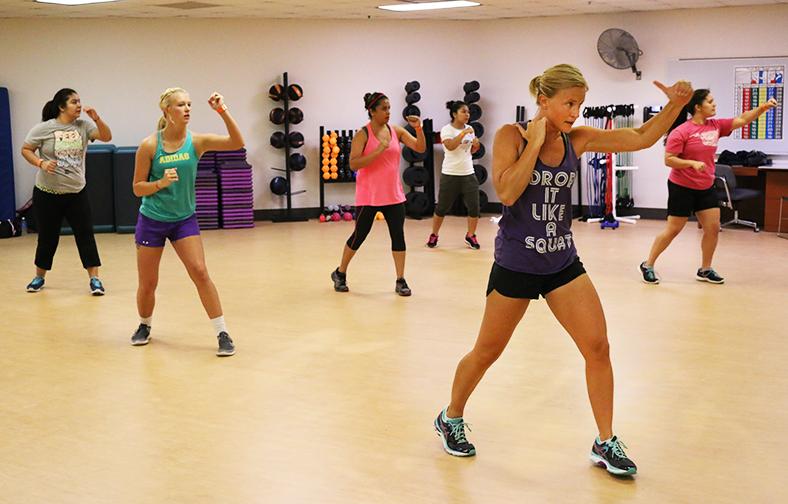 Julie Slate leads a cardio kickboxing