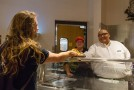 Food Service Director Dave Cordova serves up hot, wholesome food.  Aaron Cardenas/Pioneer