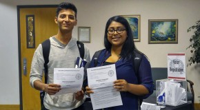 First time voters Aaron Galindo and Clarissa Casado registered on campus in preparation for November's general elections. Aaron Cardenas/Pioneer.