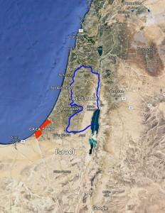 A map showing the geographical location of the Gaza Strip. Image provided by Google Maps