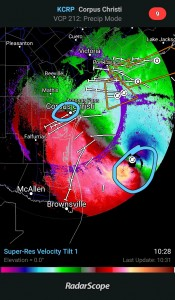 Radar of Corpus Christi during the storm. Photo provided by Chance Neal