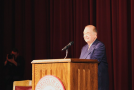 OU President David Boren at his resignation announcement. He will continue his term until for the next 9 months. Photo provided by OU Sooner Twitter Page