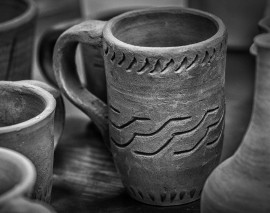 An unglazed mug waits to be painted. Leonardo Villaseca-Cruz