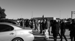Over a thousand people lined up to rally against the budget cuts to mental health services. Photo by Sean Stanley