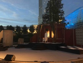 The stage of Hamlet, Oklahoma Shakespeare In The Park's production for 2017, just before the performance begins. Photo by Brandon King
