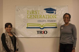 (Left) TRIO advisor Monica Suyo and Director of TRIO Grant Programs Lathonya Shivers (right).