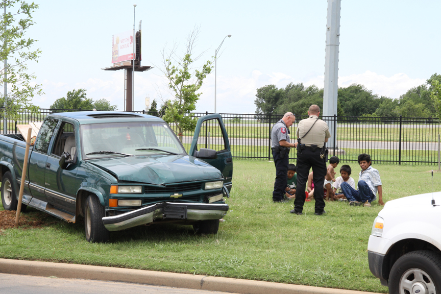 Pickup leaves highway, crashes onto OCCC campus