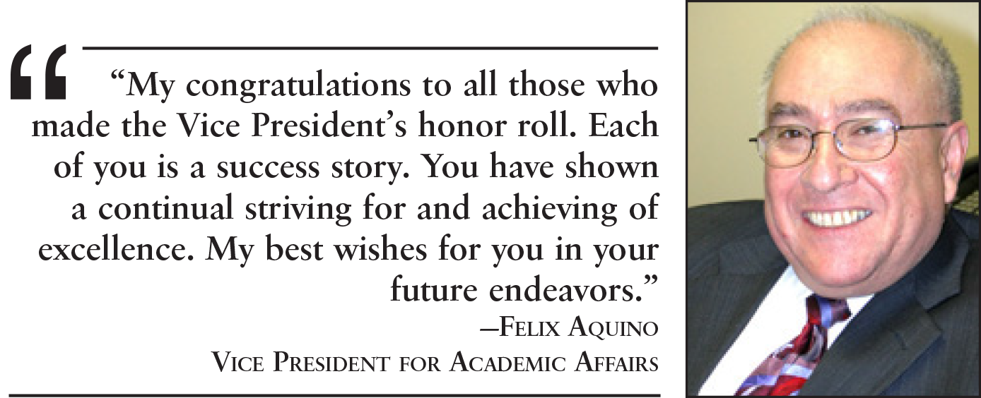 Vice President's honor roll recipients named