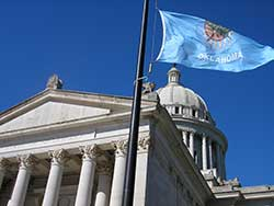Oklahoma Capitol and Flag