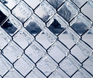 A picture of a frozen chain-link fence.