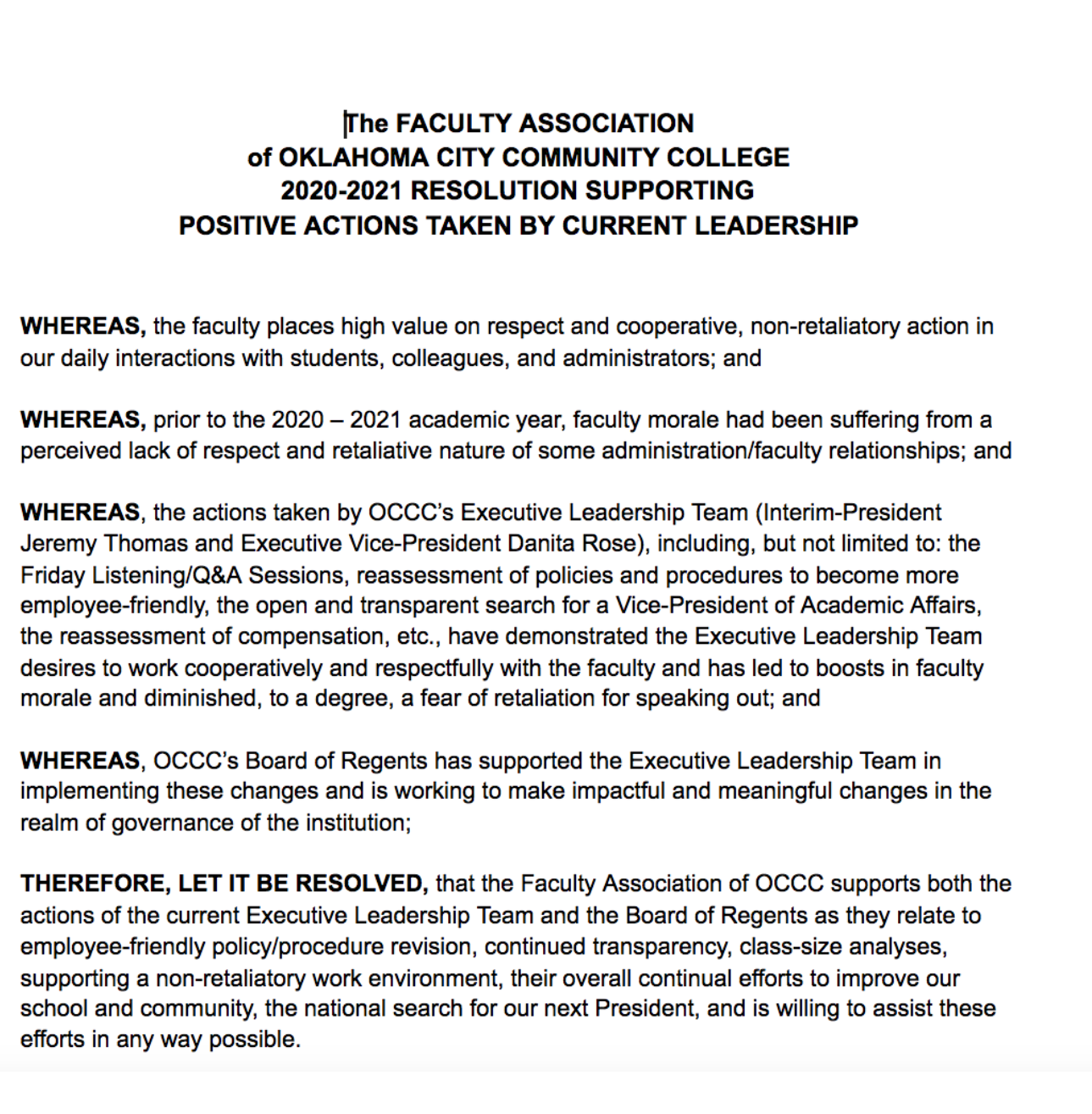 New administration bettering OCCC, Faculty Association says in resolution